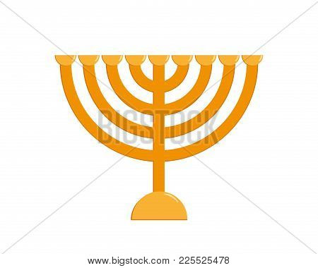 Hanukkah Menorah, Traditional Jewish Holiday Candlestick, Nine-branched Candelabrum, Isolated On Whi