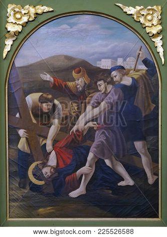 STITAR, CROATIA - NOVEMBER 11: 9th Stations of the Cross, Jesus falls the third time, church of Saint Matthew in Stitar, Croatia on November 11, 2016.