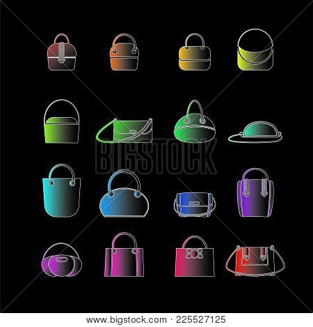 Set Of Colored Icons Of Womens Bags In The Style Of Flat