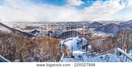 Panorama Aerial View Of Sapporo From Okurayama Ski Jump Stadium