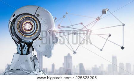 Technology Connection Concept With 3d Rendering Connection Structure With Robot