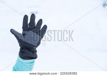 Hand In Winter Glove Gesture Number Five Or Wait
