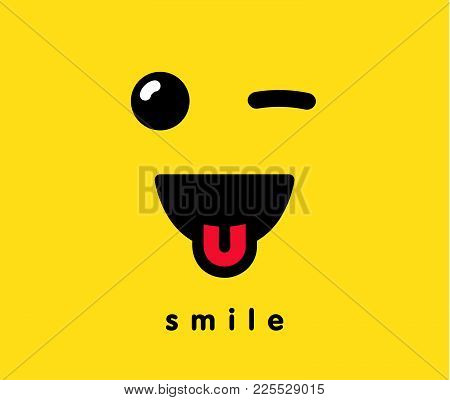 Smile With Tongue Banner Template. Winking Smiling Emoticon Vector On Yellow Background. Face Icon I