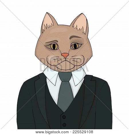 Catman In A Business Suit And Tie. The Cat Man Is The Boss. Biggie Vector Illustration