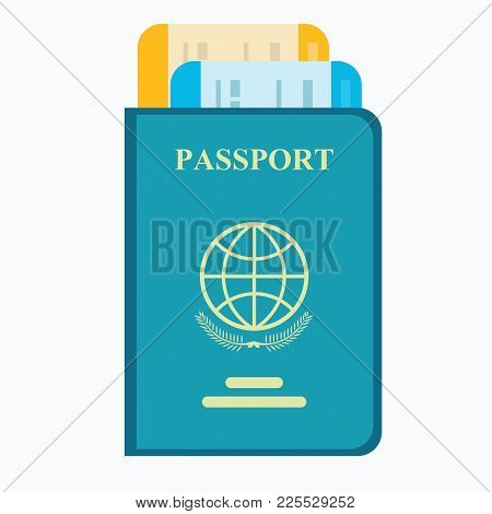 Passport With Tickets. Air Travel Concept. Flat Design Citizenship Id For Traveler Isolated. Blue In