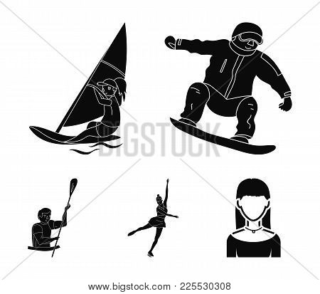 Snowboarding, Sailing Surfing, Figure Skating, Kayaking. Olympic Sports Set Collection Icons In Blac