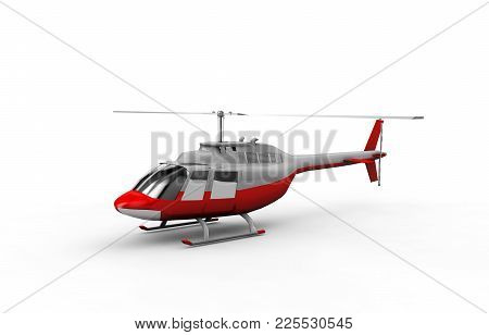 Helicopter Isolated. 3d Rendering Jet, Rescue, Aviation, Chopper,
