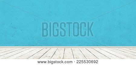 Vintage Room Interior With Blue Concrete Wall And Wood Floor Background. Wide Panorama Image