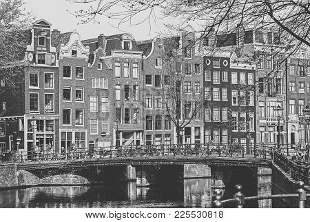Amsterdam, Netherlands - April 3: Typical Architecture In City Amsterdam On April 3, 2014 In Amsterd