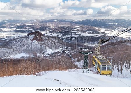 Ropeway Or Cable Car Transportation To Mount Usu Summit