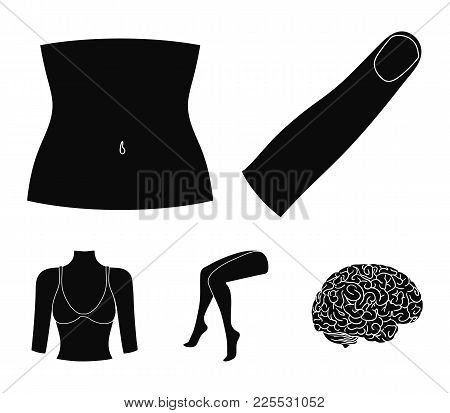 Finger, Female Feet, Female, Bust. Part Of The Body Set Collection Icons In Black Style Vector Symbo