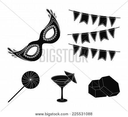 Garlands, Cocktail And Other Accessories At The Party.party And Partits Set Collection Icons In Blac