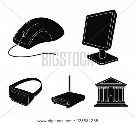 Monitor, Mouse And Other Equipment. Personal Computer Set Collection Icons In Black Style Vector Sym