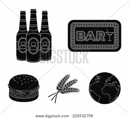 Bar, Pub, Restaurant, Cafe .pub Set Collection Icons In Black Style Vector Symbol Stock Illustration