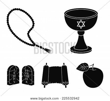 A Cup Of Wine, Islamic Beads, Ten Commandments, Tanakh. Religion Set Collection Icons In Black Style