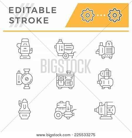 Set Line Icons Of Water Pump Isolated On White. Editable Stroke. Vector Illustration