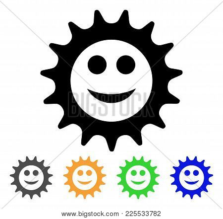Cog Glad Smiley Icon. Vector Illustration Style Is A Flat Iconic Cog Glad Smiley Black Symbol With G
