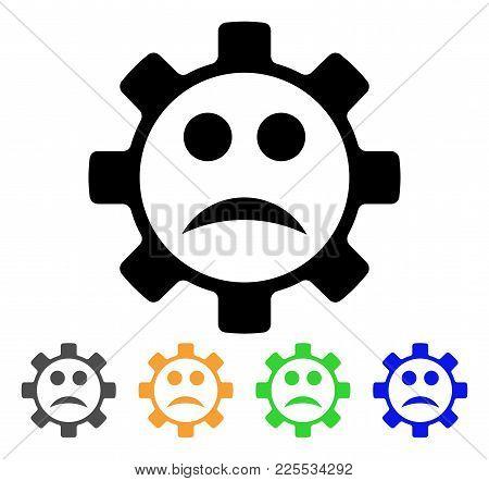 Service Gear Sad Smiley Icon. Vector Illustration Style Is A Flat Iconic Service Gear Sad Smiley Bla
