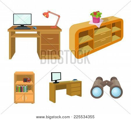 A Shelf With A Flower, A Desk With A Computer And A Lamp, A Table With A Monitor And A Book, A Cabin