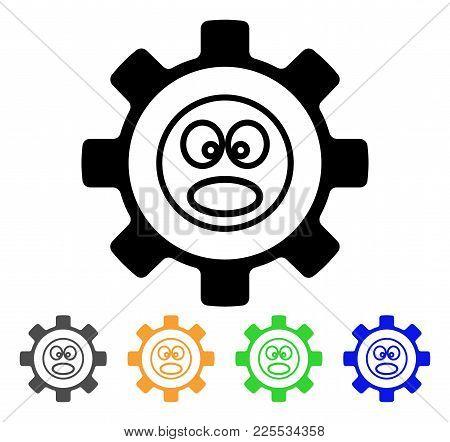 Service Gear Shout Smiley Icon. Vector Illustration Style Is A Flat Iconic Service Gear Shout Smiley