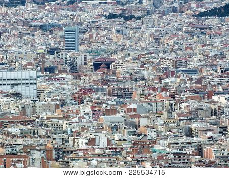 Panoramic Aerial Urban Landscape Of Barcelona Showing Residential And Business Districts With Hundre