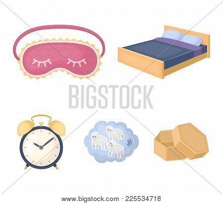 A Bed, A Blindfold, Counting Rams, An Alarm Clock. Rest And Sleep Set Collection Icons In Cartoon St
