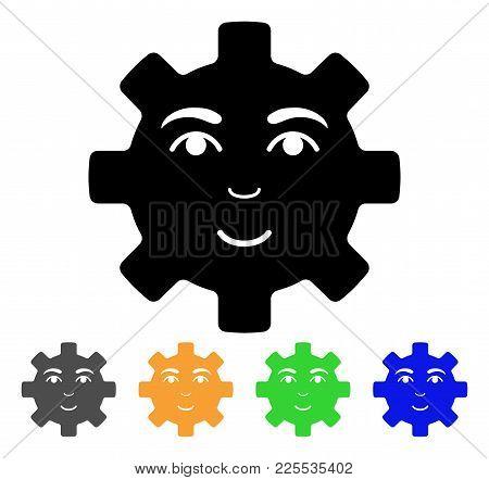 Happy Service Gear Smiley Icon. Vector Illustration Style Is A Flat Iconic Happy Service Gear Smiley