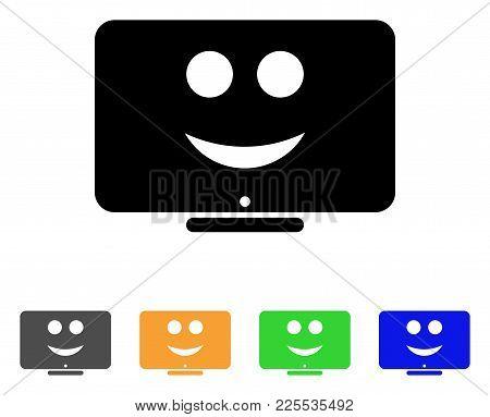 Display Happy Smiley Icon. Vector Illustration Style Is A Flat Iconic Display Happy Smiley Black Sym