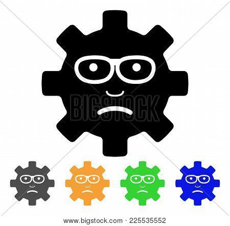 Service Gear Sad Smile Icon. Vector Illustration Style Is A Flat Iconic Service Gear Sad Smile Black