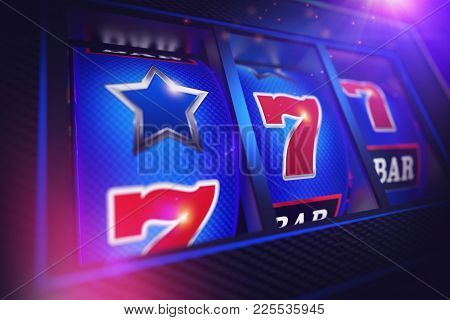 Lucky Slot Machine Spin 3d Rendered Concept Illustration. Las Vegas One Handed Bandit Game.