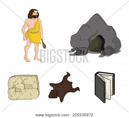 Ancient, World, Stone Age .stone Age Set Collection Icons In Cartoon Style Vector Symbol Stock Illus