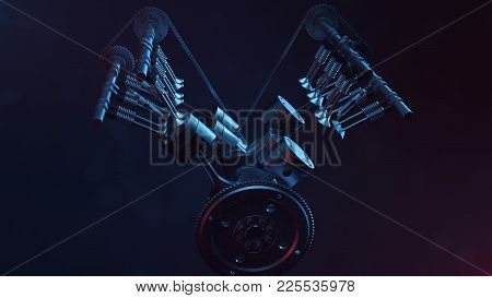 3d Illustration Of An Internal Combustion Engine. Engine Parts, Crankshaft, Pistons, Fuel Supply Sys