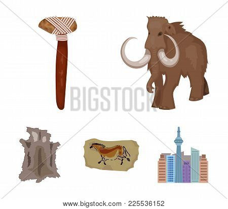 Primitive, Mammoth, Weapons, Hammer .stone Age Set Collection Icons In Cartoon Style Vector Symbol S