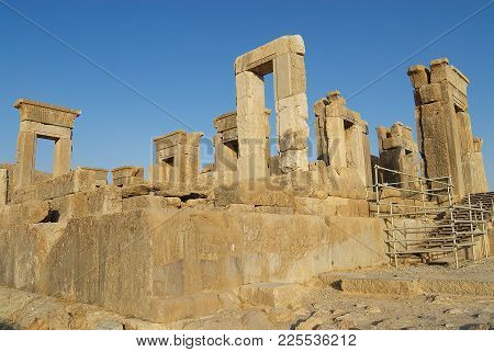 Shiraz, Iran - June 19, 2007: View To The Ruins Of Persepolis In Shiraz, Iran. Persepolis Is A Unesc
