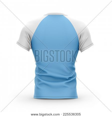 Short sleeved men's t shirt with round neck and raglan sleeves. Back view. 3d rendering. Clipping paths included: all object and sleeves.  Isolated on white background.