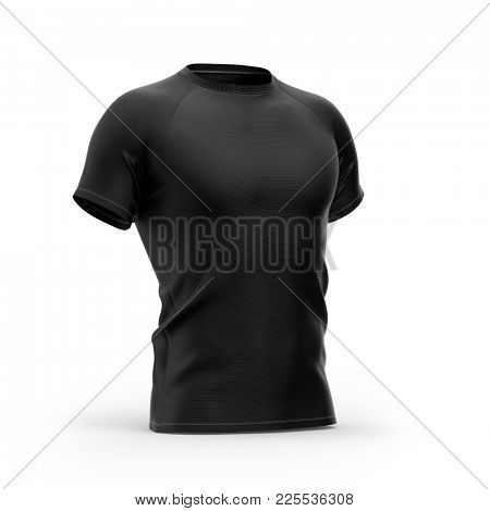 Short sleeved men's t shirt with round neck and raglan sleeves. Half- front view. 3d rendering. Clipping paths included: all object and sleeves.  Isolated on white background. Black variant