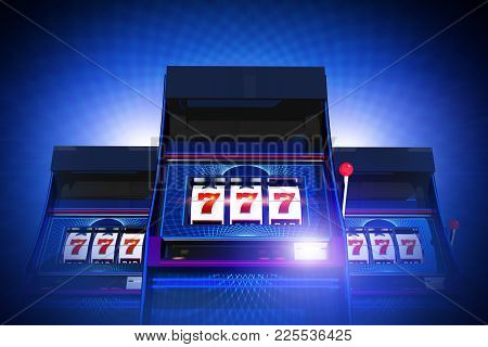 Triple Seven Casino Slot Machines Lucky Game. Glowing Blue Background. 3d Rendered Illustration Conc