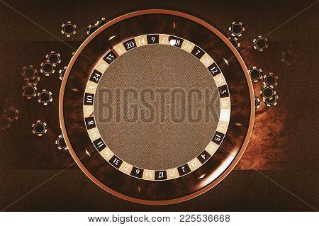Roulette Wheel With Center Copy Space Inside The Wheel. Gambling Chips Around. 3d Rendered Illustrat