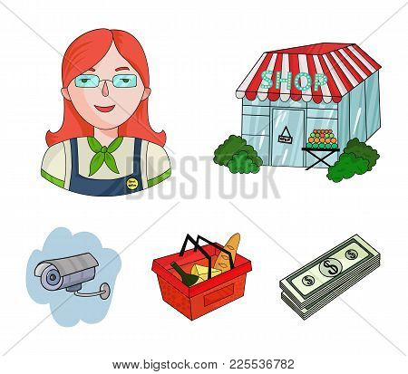 Salesman, Woman, Basket, Plastic .supermarket Set Collection Icons In Cartoon Style Vector Symbol St