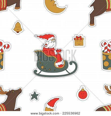 Christmas Seamless Pattern Background. Santa Claus In A Sleigh, Reindeer And Gifts Vector Illustrati