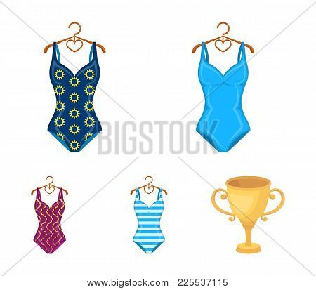 Different Kinds Of Swimsuits. Swimsuitsset Collection Icons In Cartoon Style Vector Symbol Stock Ill