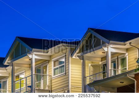 Top of a house or an apartment at dusk in Vancouver, Canada.