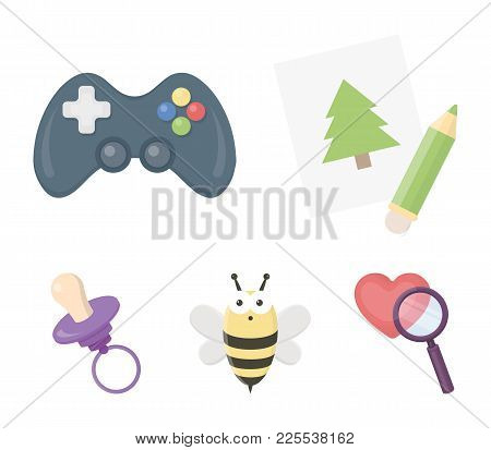 Picture, Dzhostik, Bee, Nipple.toys Set Collection Icons In Cartoon Style Vector Symbol Stock Illust