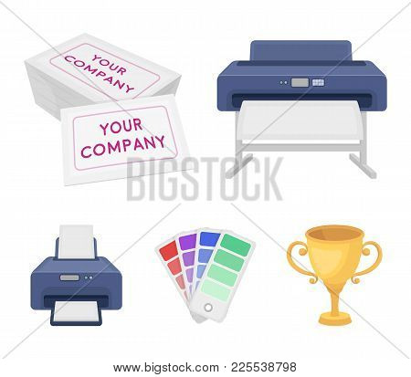 Printer, Credit Card, Color Palette.typography Set Collection Icons In Cartoon Style Vector Symbol S