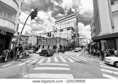 SAO PAULO, BRAZIL - FEBRUARY 02: Black and white picture of the streets in Liberdade, traditional ja