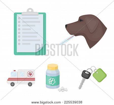Hospital, Veterinarian, Dog, Thermometer .vet Clinic Set Collection Icons In Cartoon Style Vector Sy