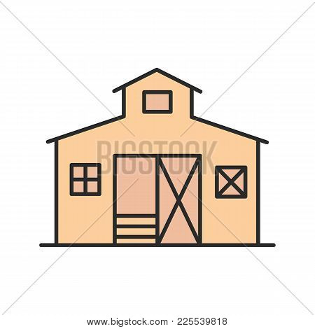 Barn Color Icon. Ranch. Agriculture. Isolated Vector Illustration