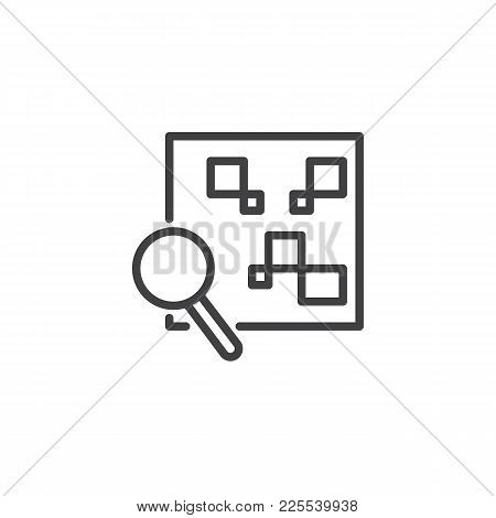 Qr Code With Magnifying Glass Line Icon, Outline Vector Sign, Linear Style Pictogram Isolated On Whi
