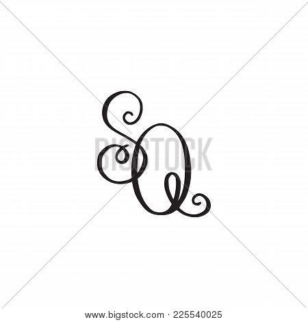 Handwritten Monogram Sq Icon, Logo With Swirls Isolated On White Background