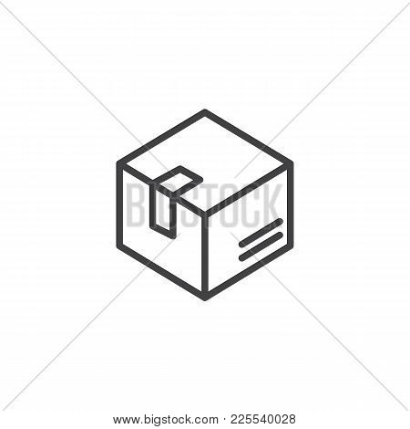 Delivery Box Line Icon, Outline Vector Sign, Linear Style Pictogram Isolated On White. Box, Package,